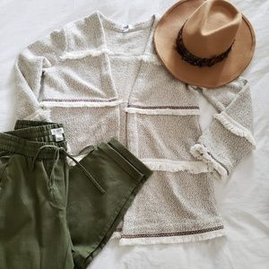 J.Crew Petite linen-cotton drawstring pants green